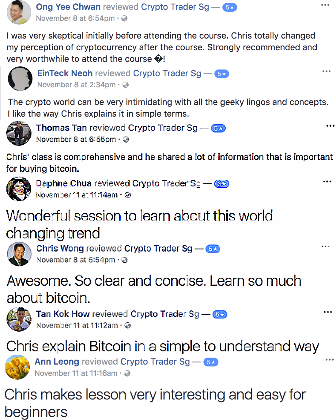 Cryptocurrency Masterclass & Bitcoin Trading Course testimonials